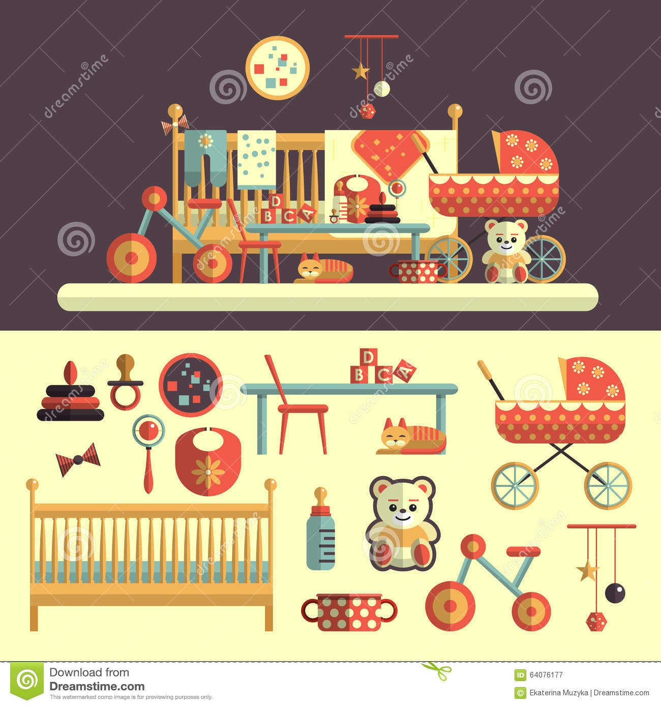 Kids Room Decoration Space Theme Vector Illustration: Interior Of Baby Room And Toys Set For Kids Stock Vector