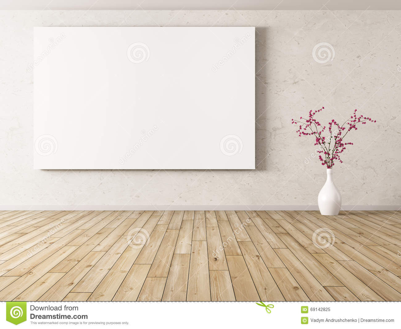 Room Background: Interior Background With Big Poster 3d Rendering Stock
