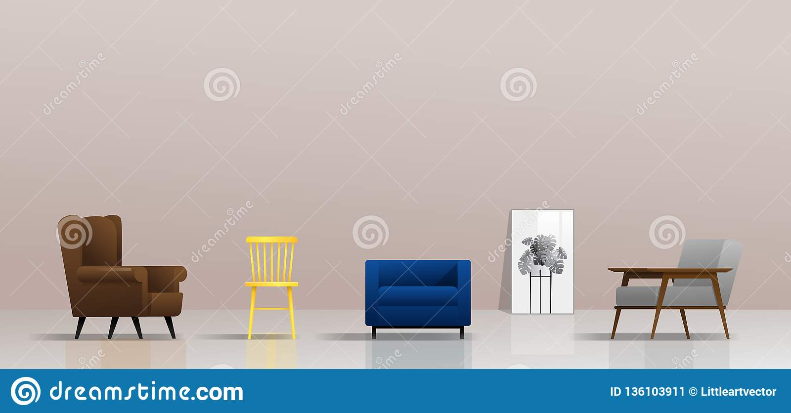 Interior background with different types of chairs & Interior Background With Different Types Of Chairs Stock Vector ...