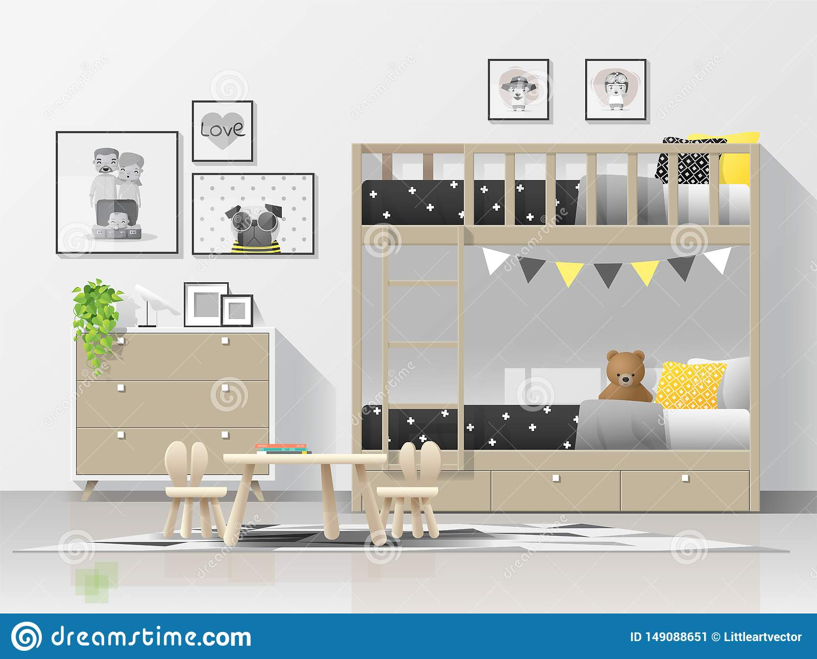 Interior Background Of Modern Kids Bedroom With Wooden Bunk Bed Stock Vector Illustration Of Bedroom Bunk 149088651