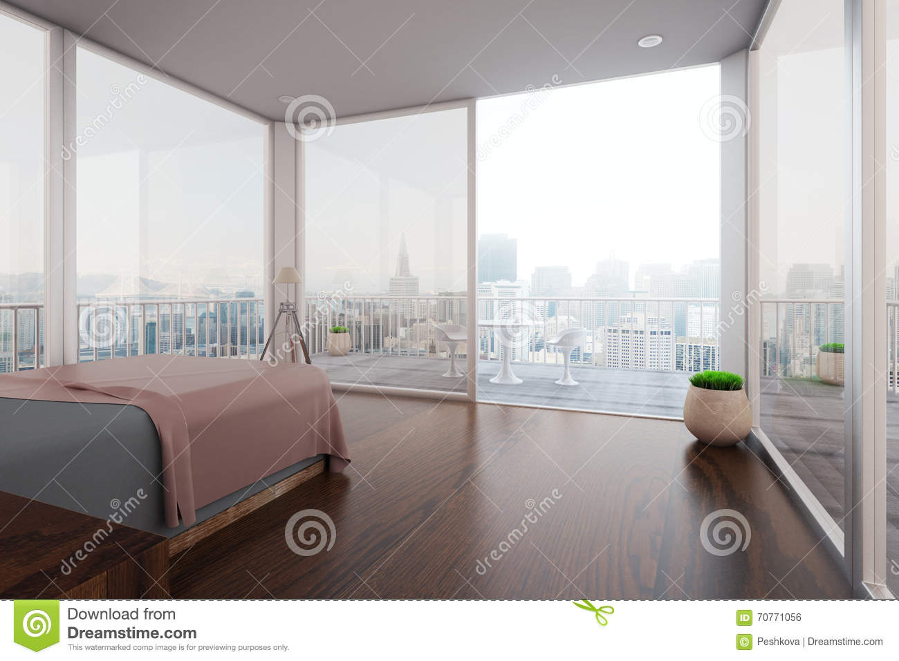 Interior with balcony stock illustration image 70771056 for Interior design bedroom with balcony