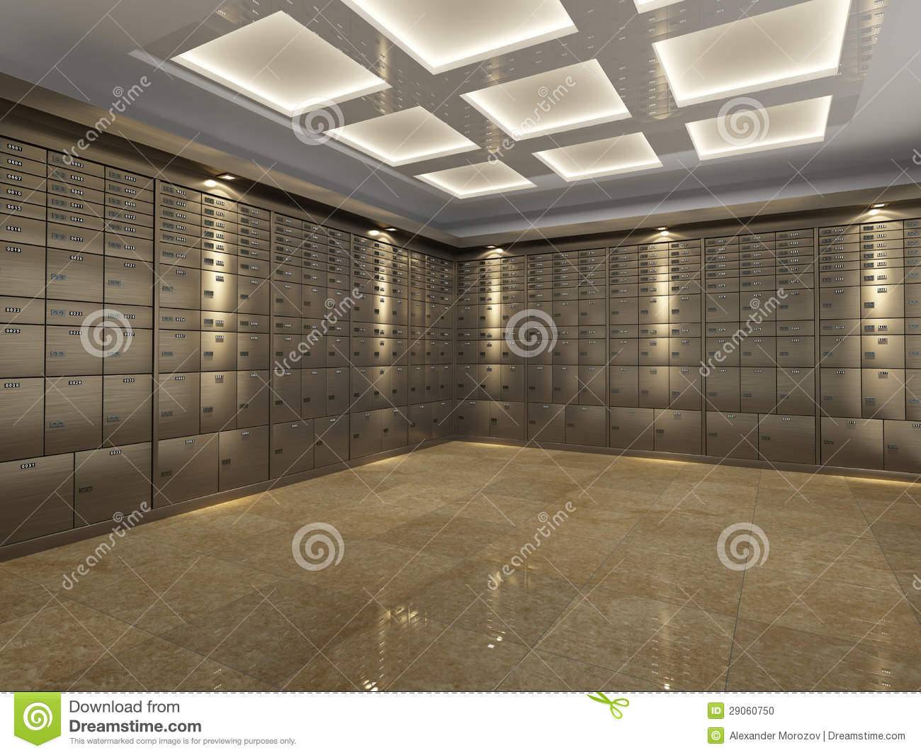 Interior Of A Bank Vault Stock Illustration Image Of