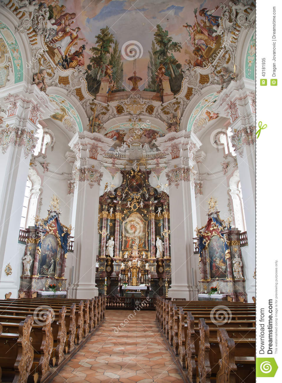 Interior baroque church stock image image of watch for Interieur baroque
