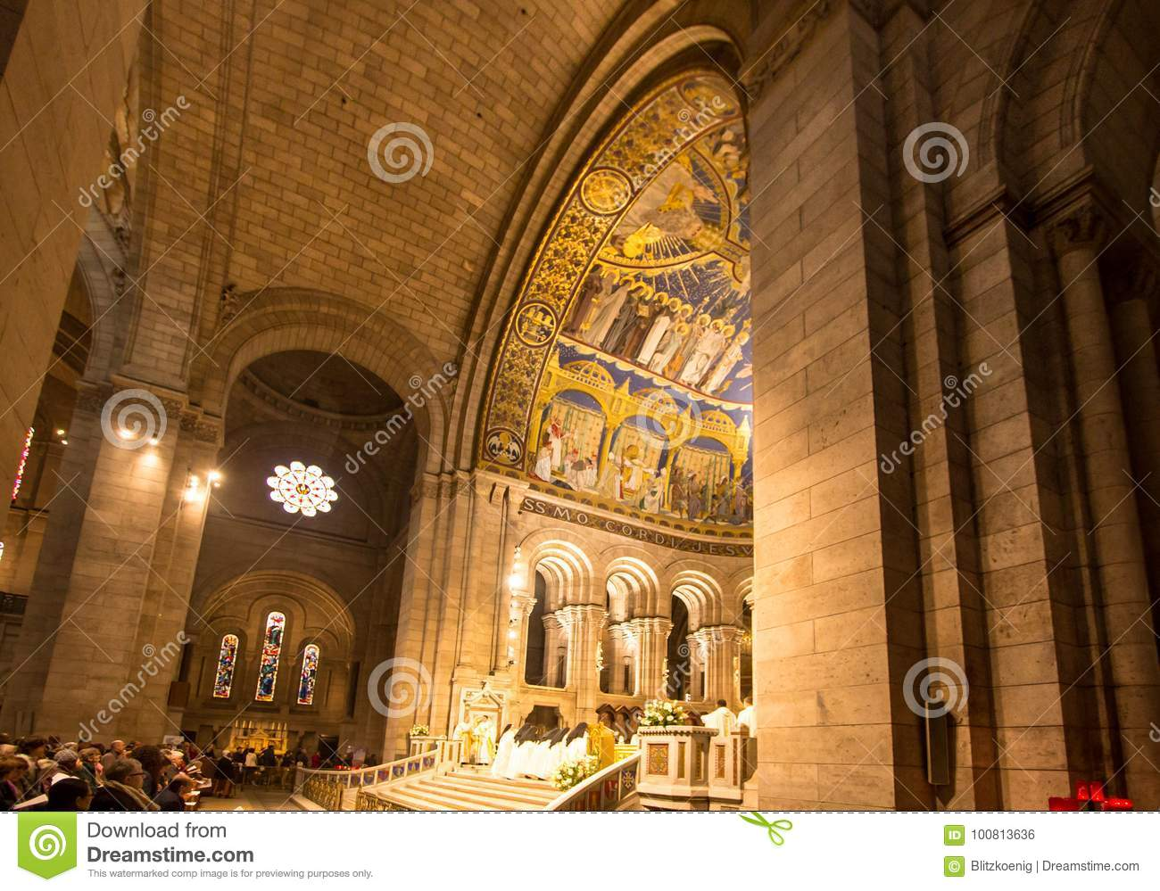 Interior Of Basilica Sacre Coeur Paris France Editorial Photo