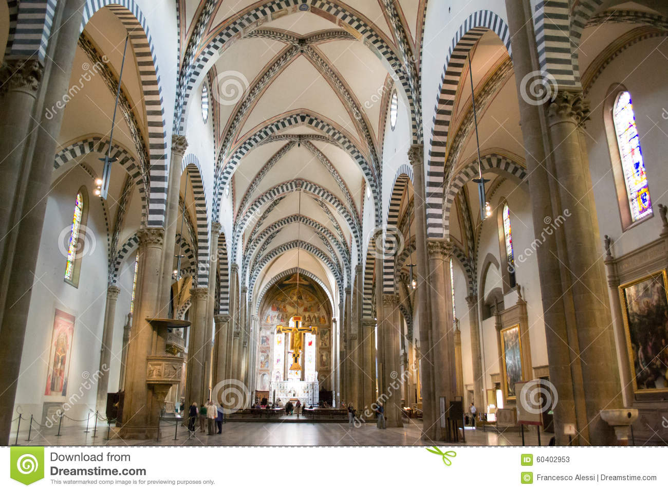 Interior Of Basilica Santa Maria Novella Editorial Stock Photo - Image ...