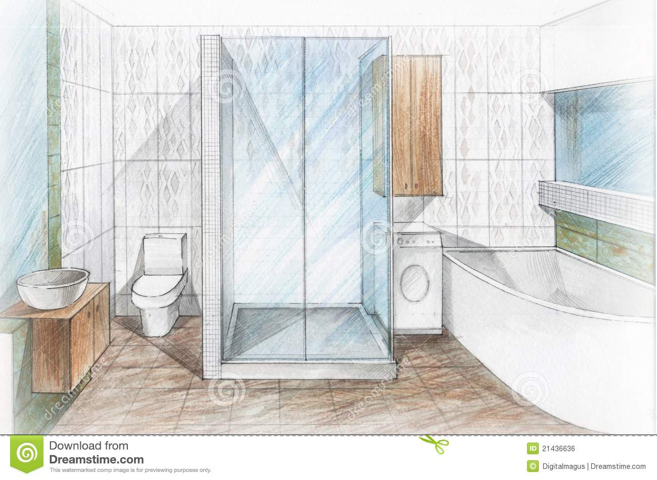 Interior Bathroom Stock Illustration Of Domestic