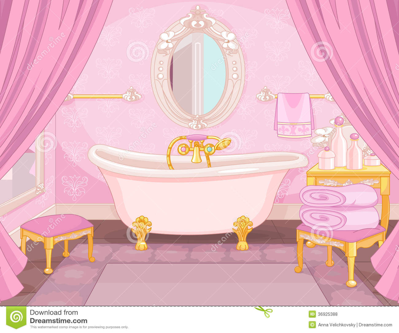 Bathroom Cabinet Clip Art: Interior Of Bathroom In The Castle Stock Vector