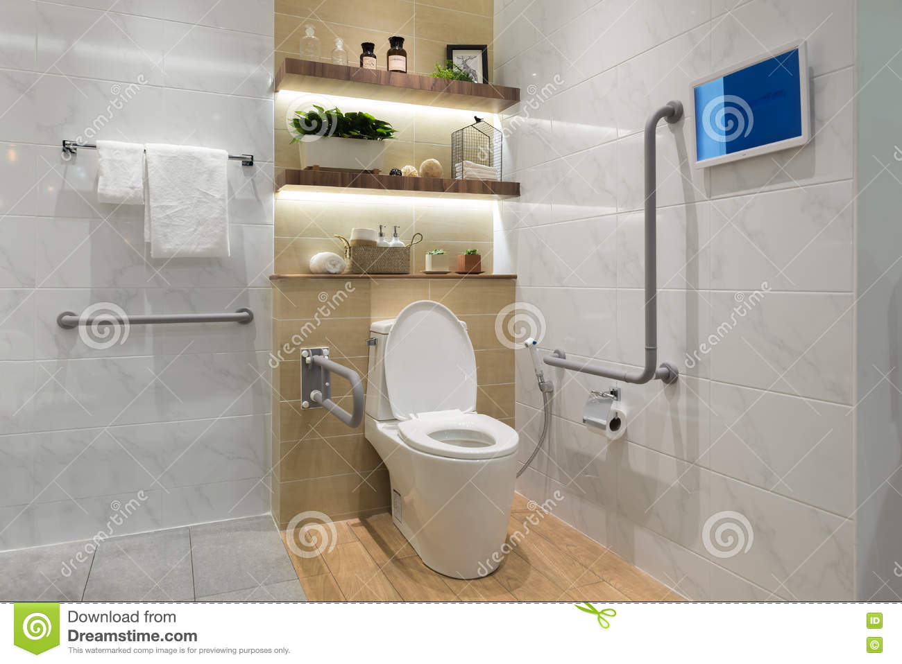 Interior of bathroom for the disabled or elderly people. =