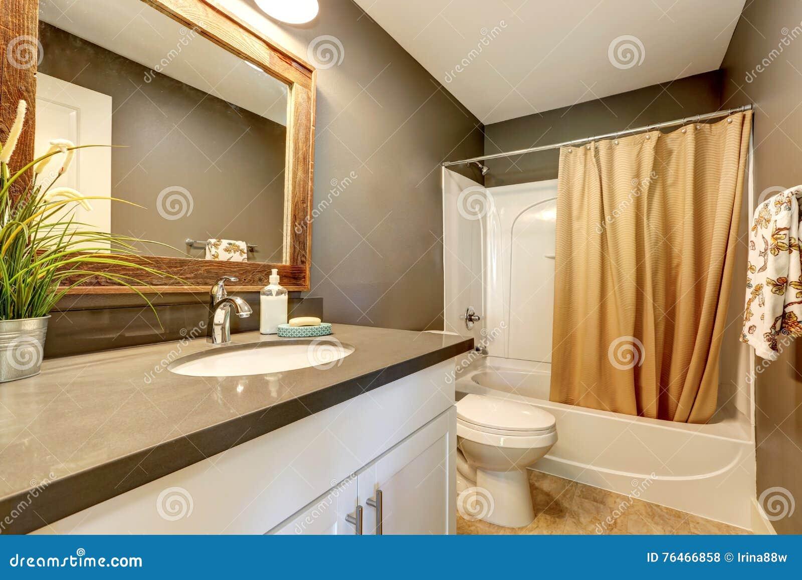 Interior Of Bathroom Grey Walls With White Bathroom Appliances Stock Photo Image Of Room Bathtub 76466858
