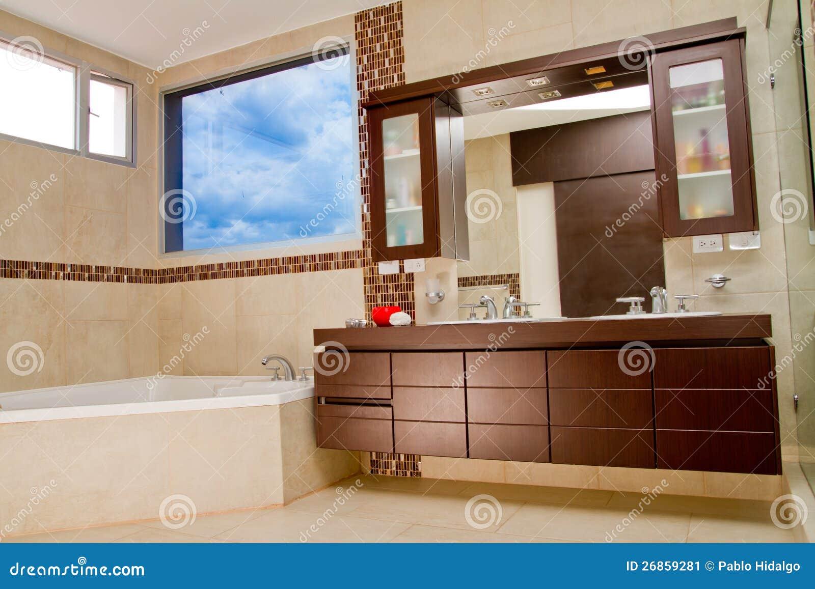 Interior of bathroom in modern house hot tub stock image for Modern house interior bathroom