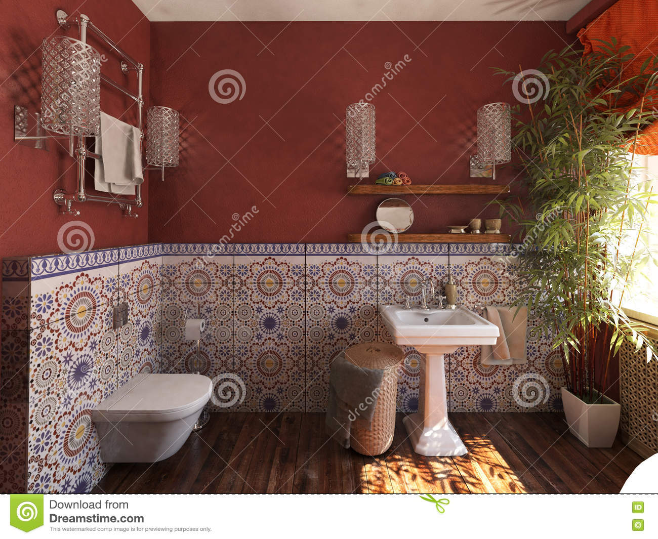 fascinating moroccan style bathroom | The Interior Of Bathroom In The Moroccan Style Stock Photo ...