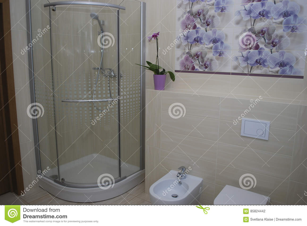 Interior Bathroom Shower With One Door, Built In Toilet And Bidet. On The  Walls Of Beige Tiles Direct And Structural, Decoration With Purple And Blue  ...