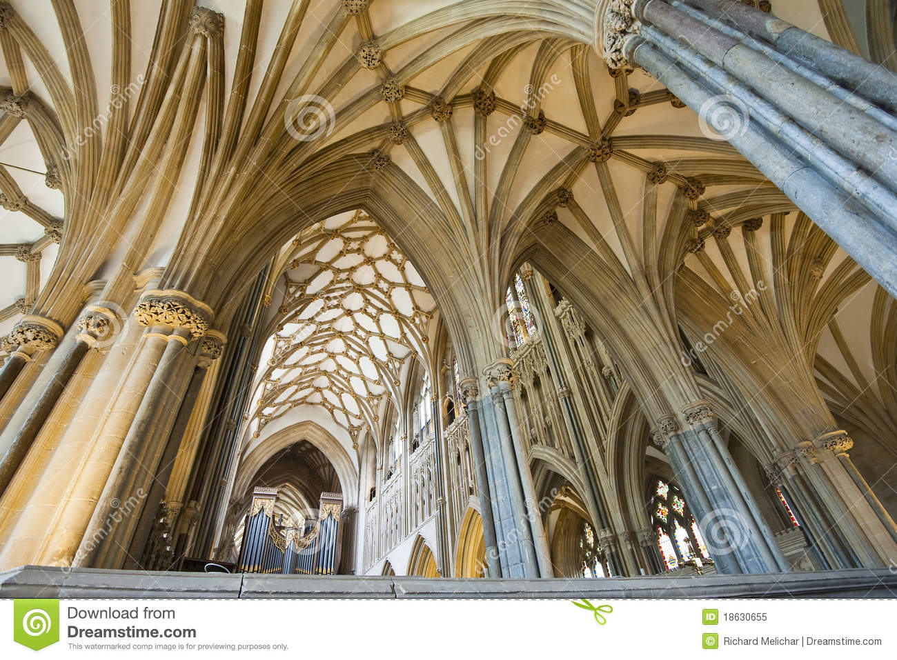 Interior Of A Beautiful Gothic Wells Cathedral Royalty