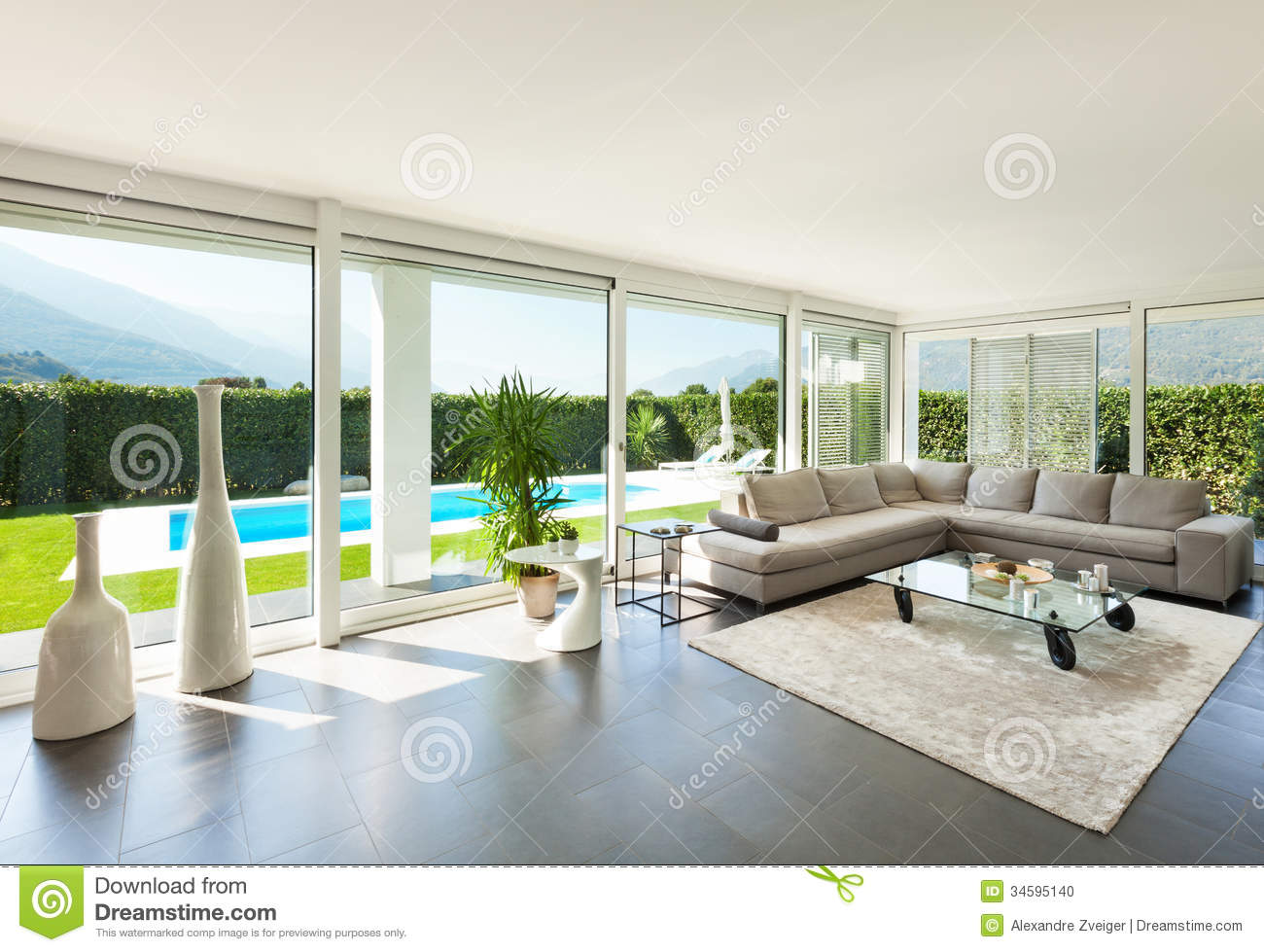 Interior, Beautiful Living Room Stock Photo - Image of design, sofa ...