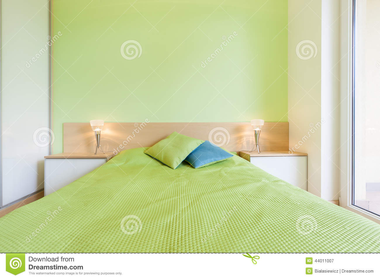 interior of bedroom with green wall stock photo image