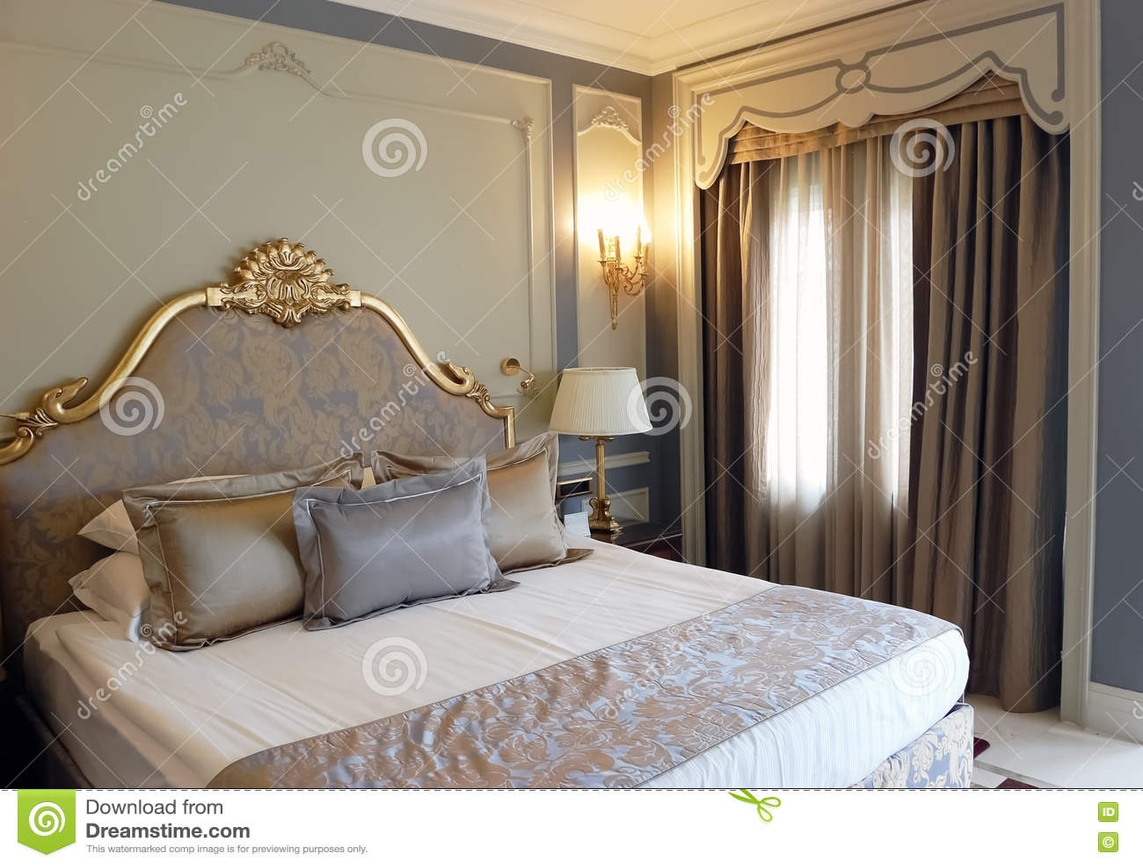 Side, ANTALYA, TURKEY   JUNE 02, 2015: Interior Of Bedroom In Grey Tones In  The High Class Hotel Of Turkey.