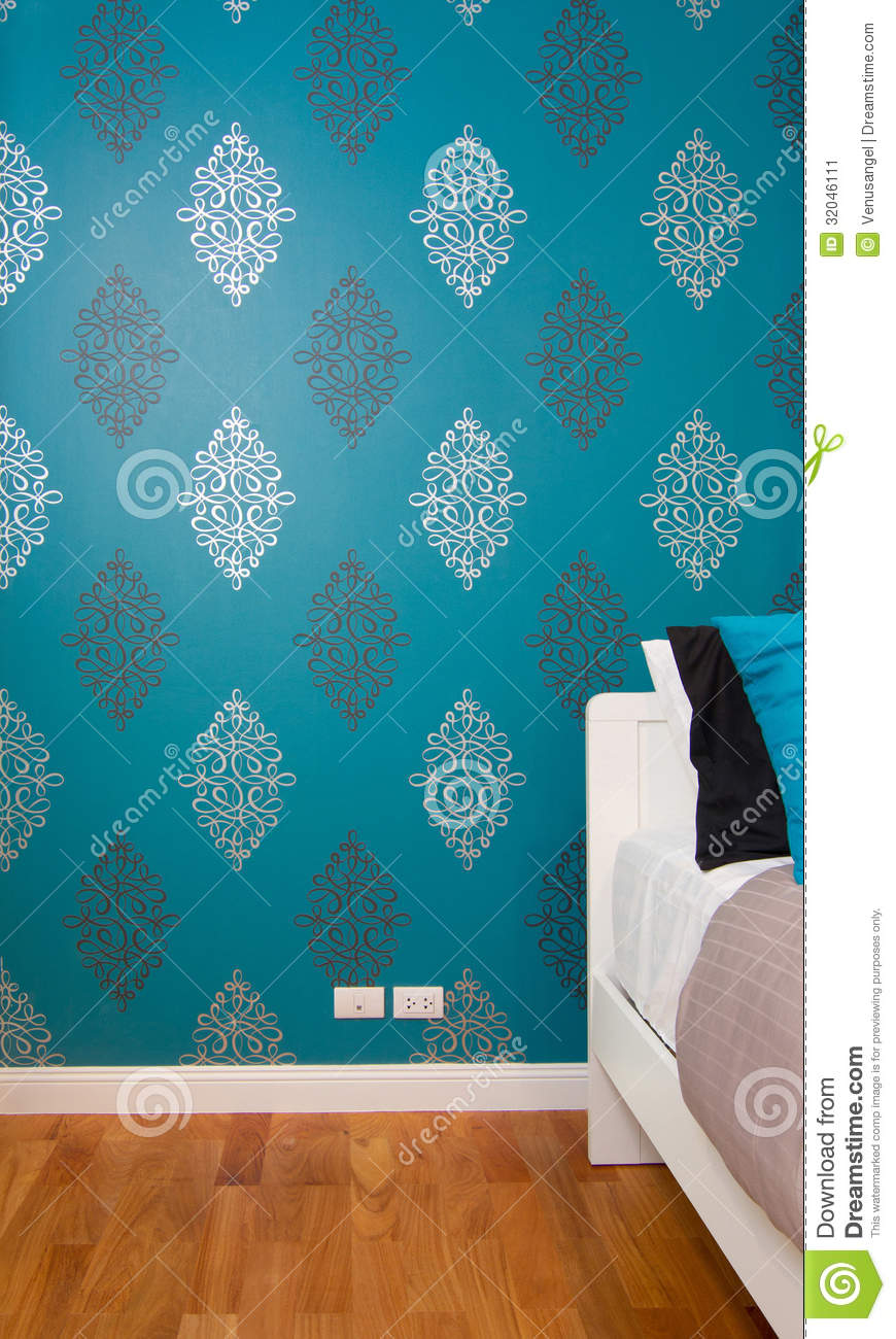 Interior Bedroom With Luxury Blue Wallpaper Stock Image