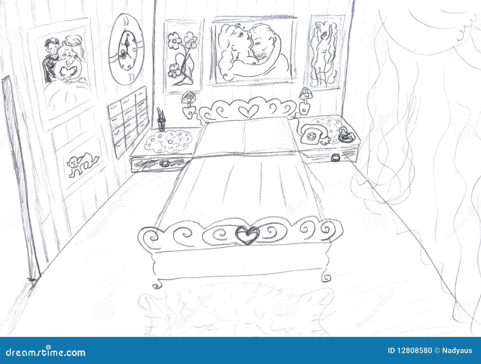 interior of bedroom sketch stock illustration