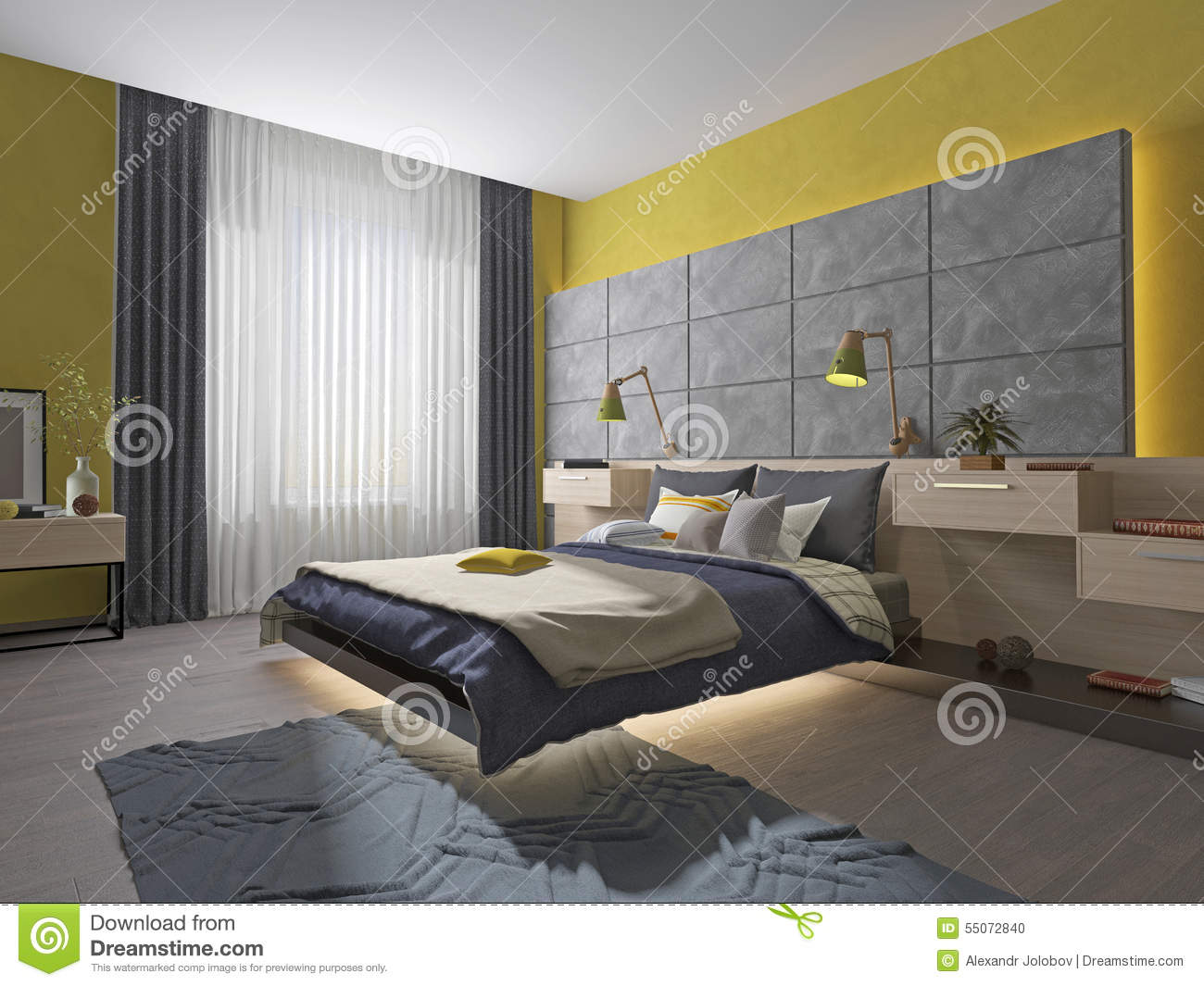 Royalty-Free Illustration. Download Interior Bedroom Teenager Bed ...