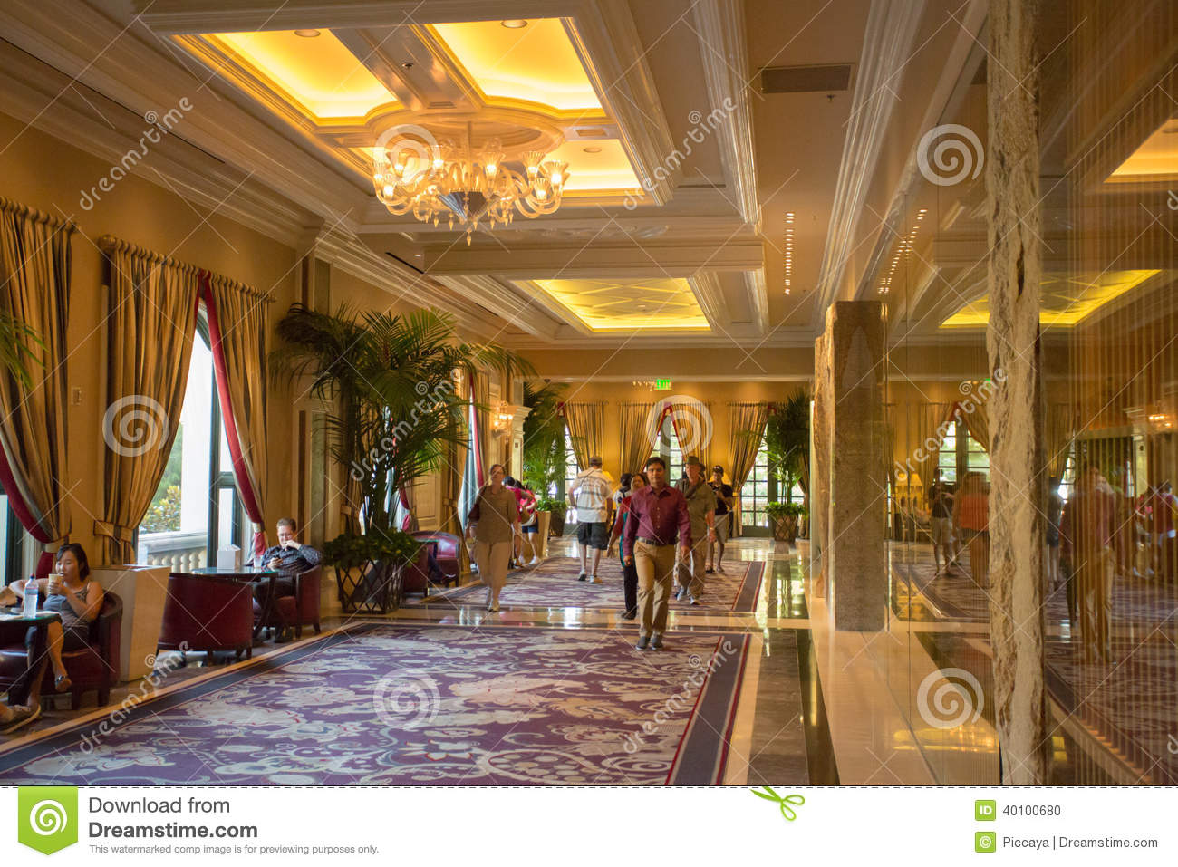 Interior of the bellagio casino hallway in las vegas editorial image image of vegas design Interior decorators las vegas