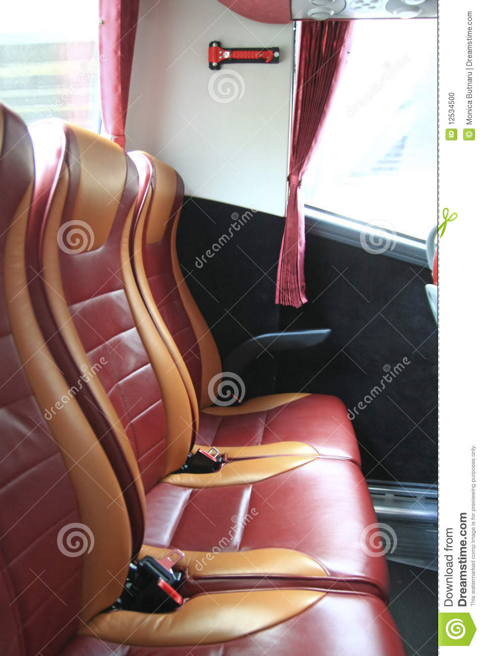 interior of big coach bus with leather seats stock photo image 12534500. Black Bedroom Furniture Sets. Home Design Ideas