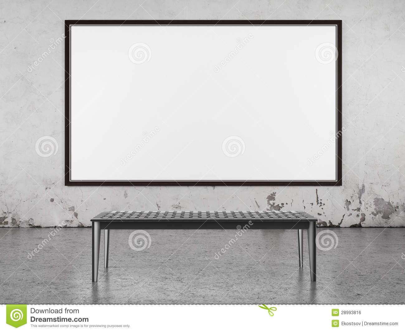 Interior With Big Frame On The Wall Stock Illustration ...