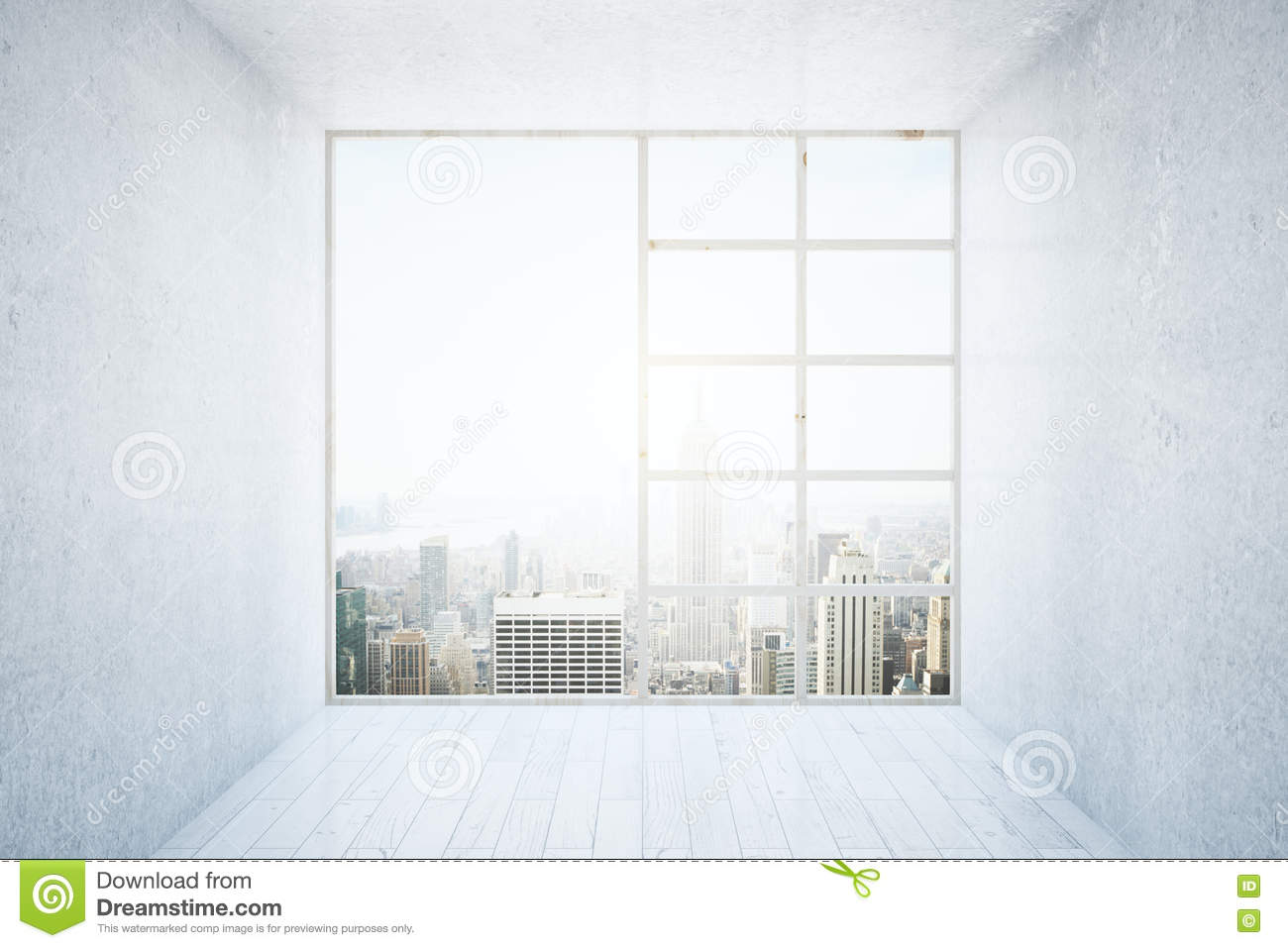 Interior with big window royalty free stock photography for Window design cement