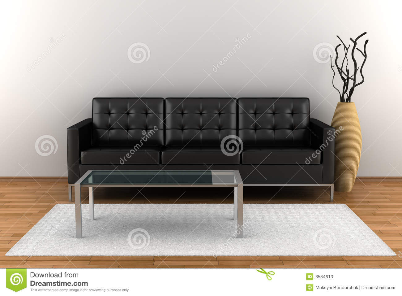 Interior With Black Leather Sofa Stock Illustration ...