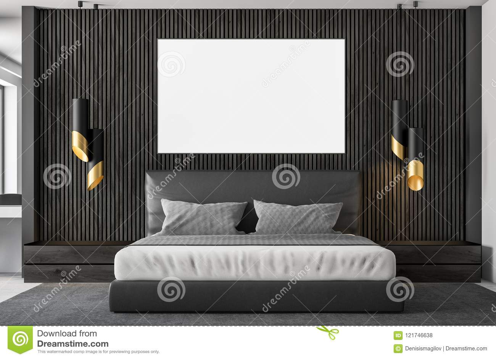 Dark Wood Master Bedroom Interior, Poster Stock Illustration ...
