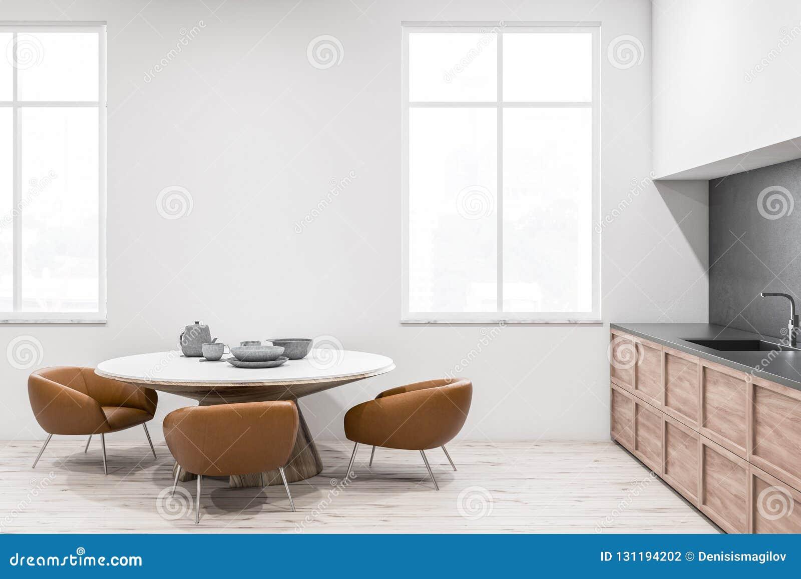 Interior Blanco De La Cocina, Vista Lateral De La Mesa ...