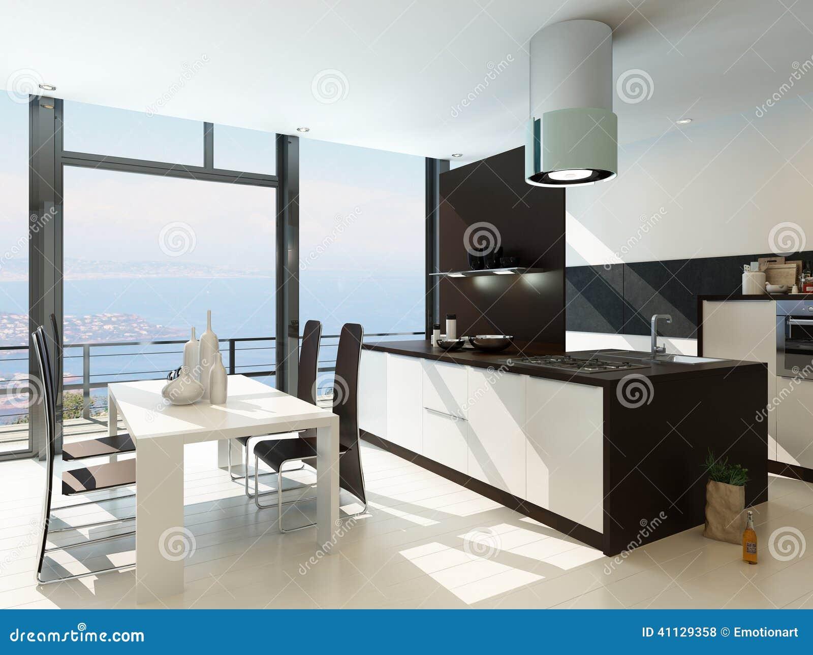 Interior blanco de lujo de la cocina con muebles de madera - Muebles de cocina de lujo ...