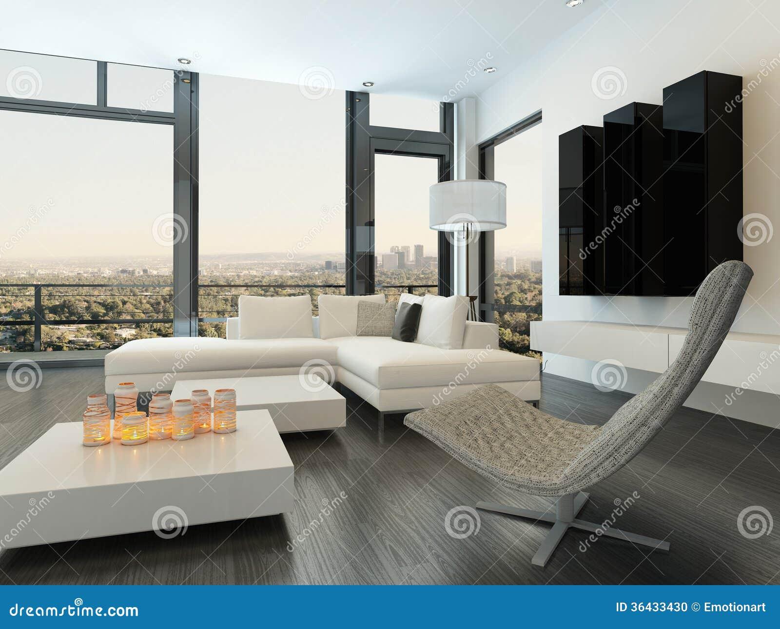 Interior Blanco De Lujo De La Sala De Estar Con Muebles Modernos ...