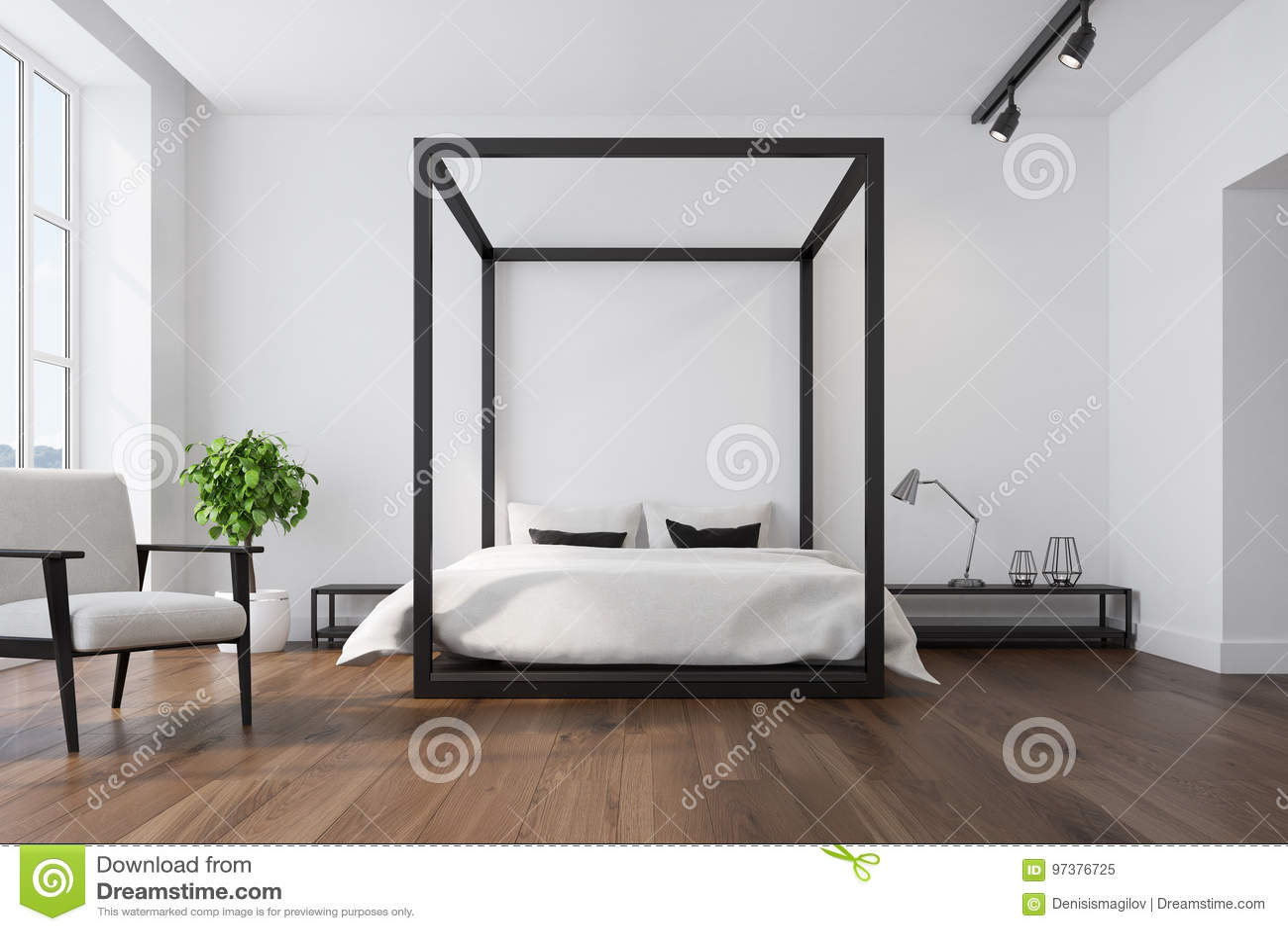 Interior blanco del dormitorio, butaca