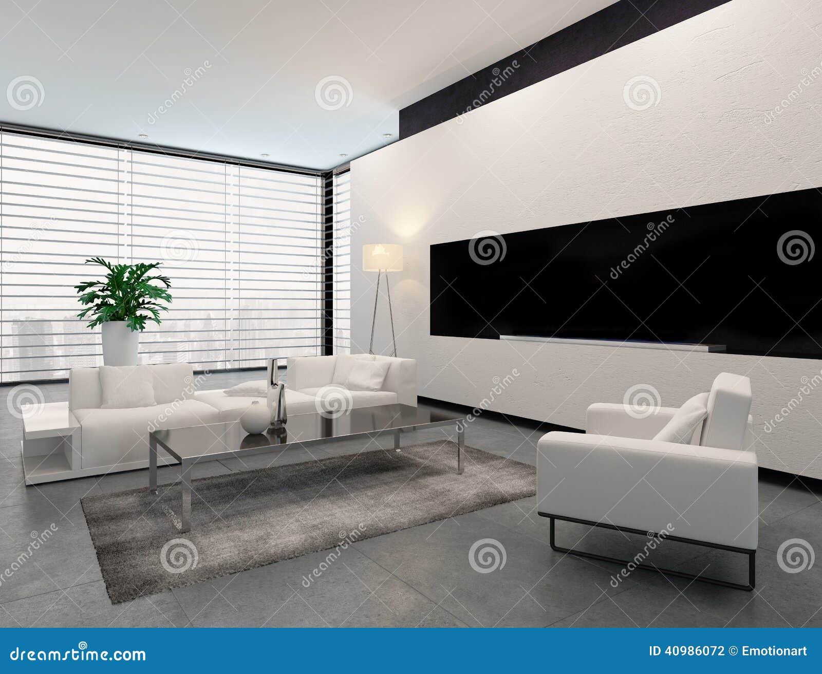 Interior blanco gris y negro moderno de la sala de estar for Deco sala en blanco y negro