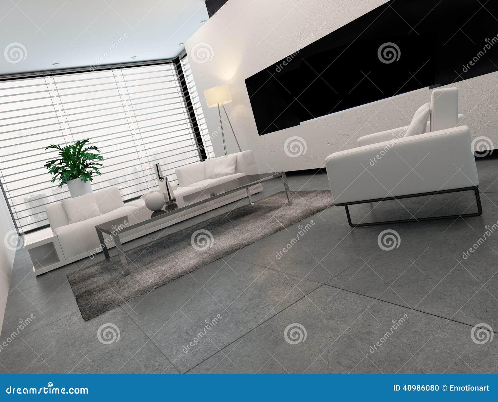 Interior blanco gris y negro moderno de la sala de estar for Sala de estar blanco y negro