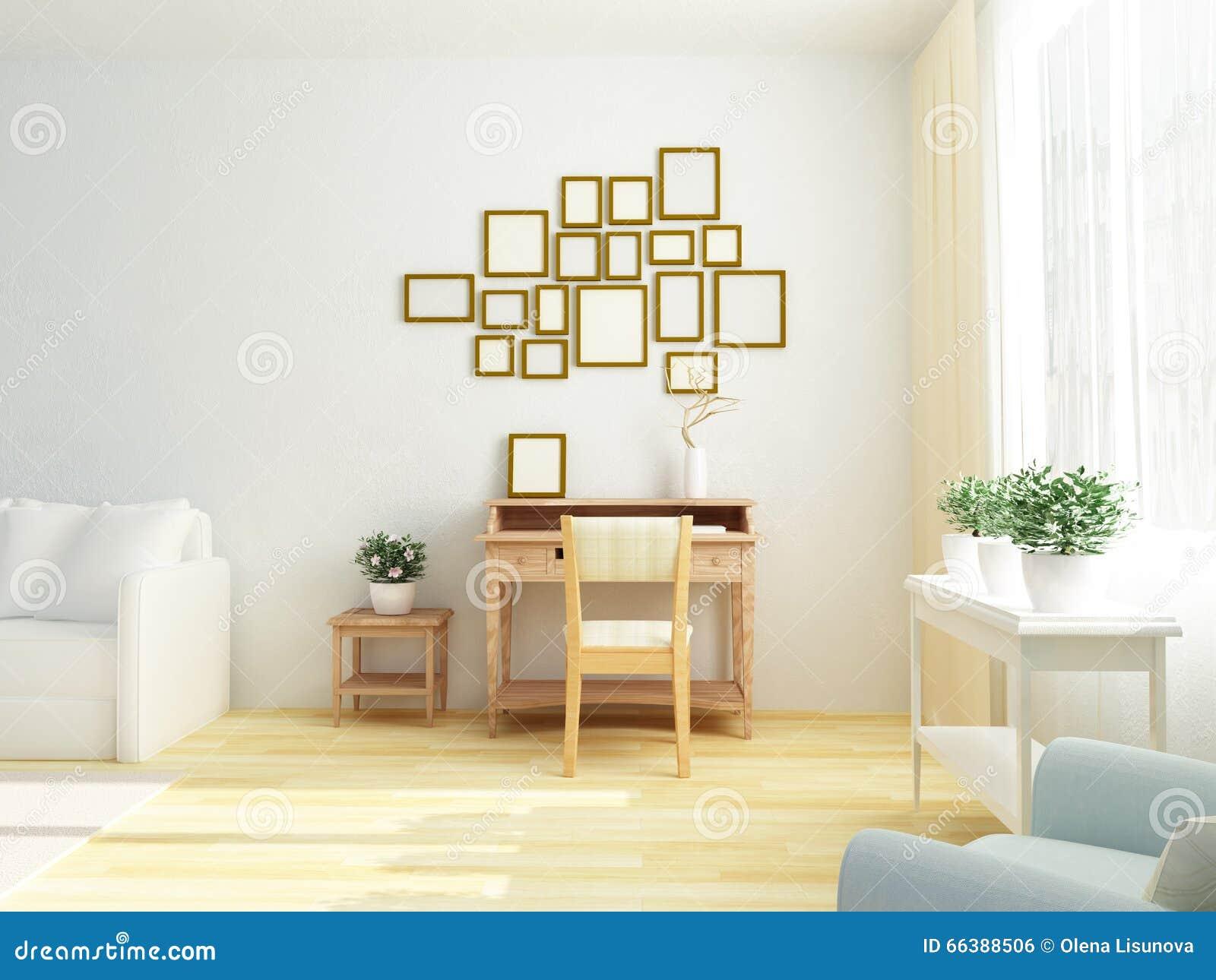 Interior blanco ligero de la sala de estar con la tabla del gabinete del vintage Estilo escandinavo