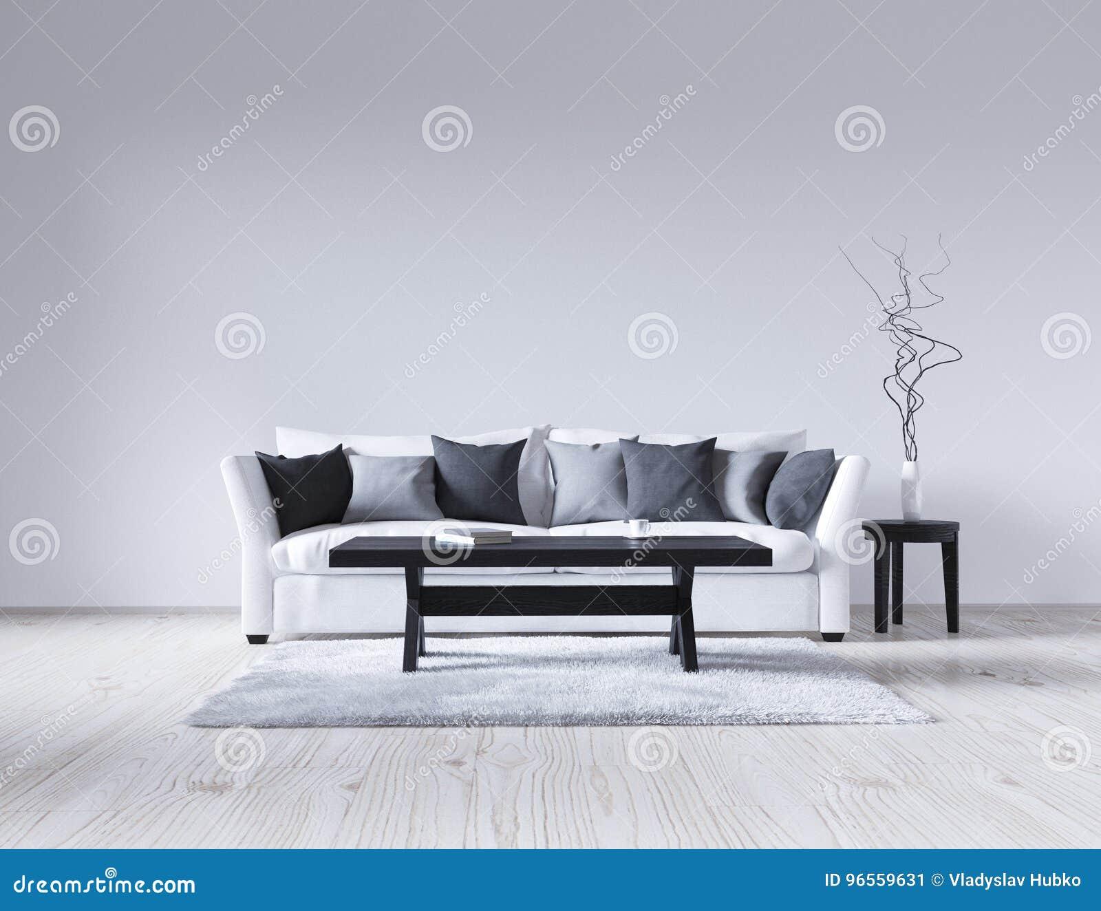 Interior Blanco Vacío Del Ejemplo 3d Con El Sofá, Pared Vacía ...