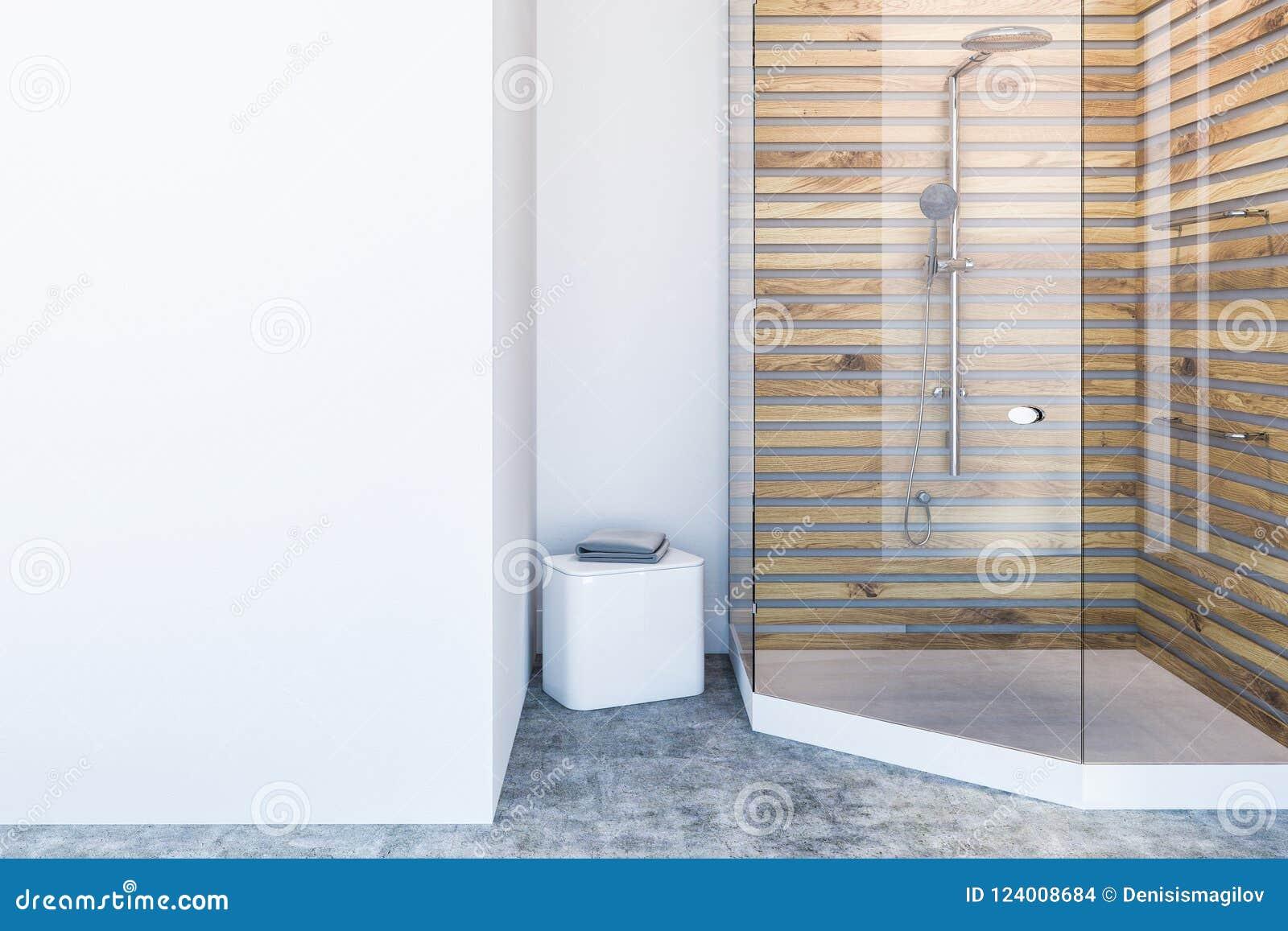 Interior Blanco Y De Madera Del Cuarto De Baño, Ducha Stock de ...