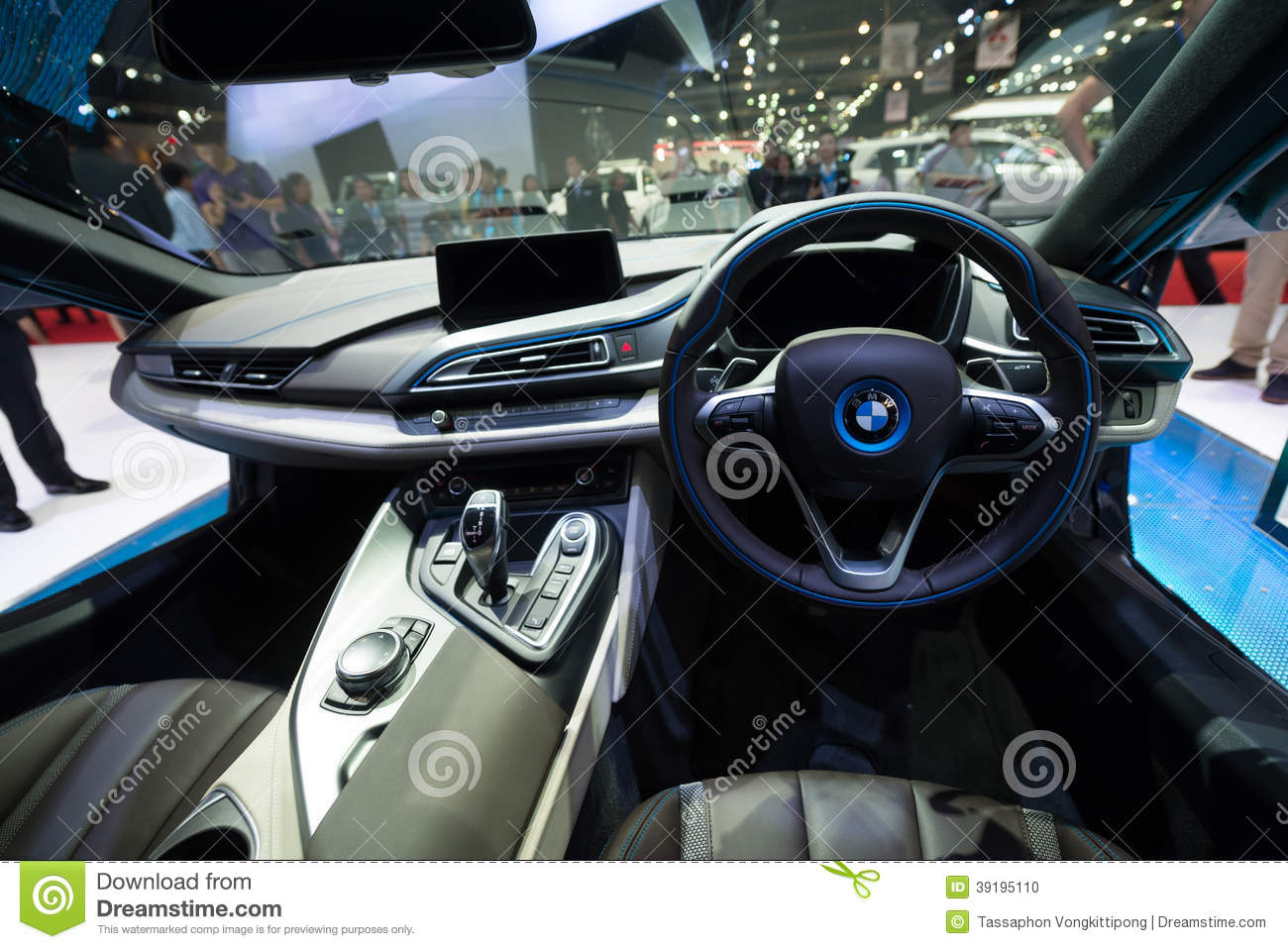 Interior of bmw i8 hybrid production car on display for Bmw i8 interior