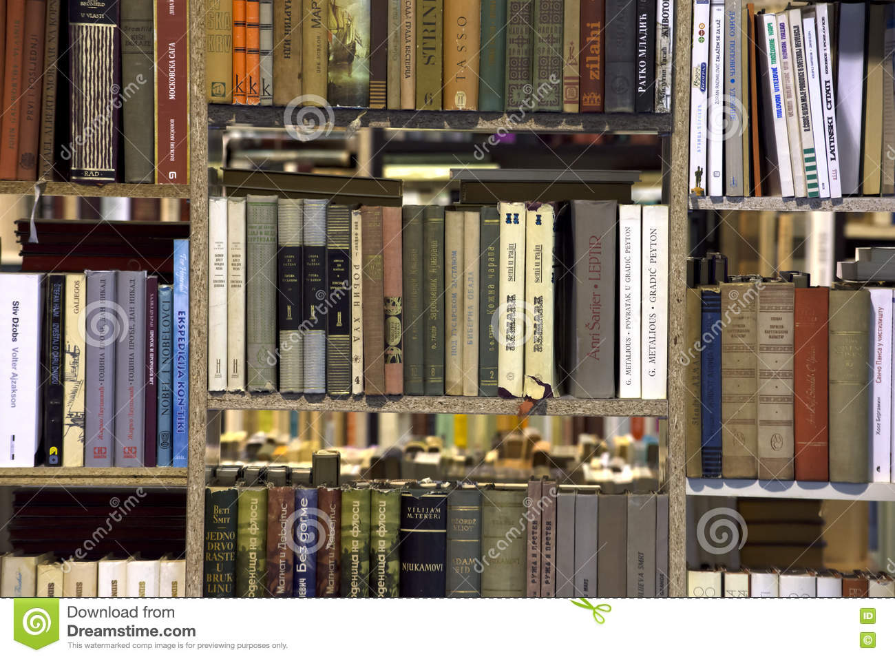 Book Store With Books On Bookshelf Sale At The International Belgrade Fair One Of Oldest And Most Important Literary Events In Region