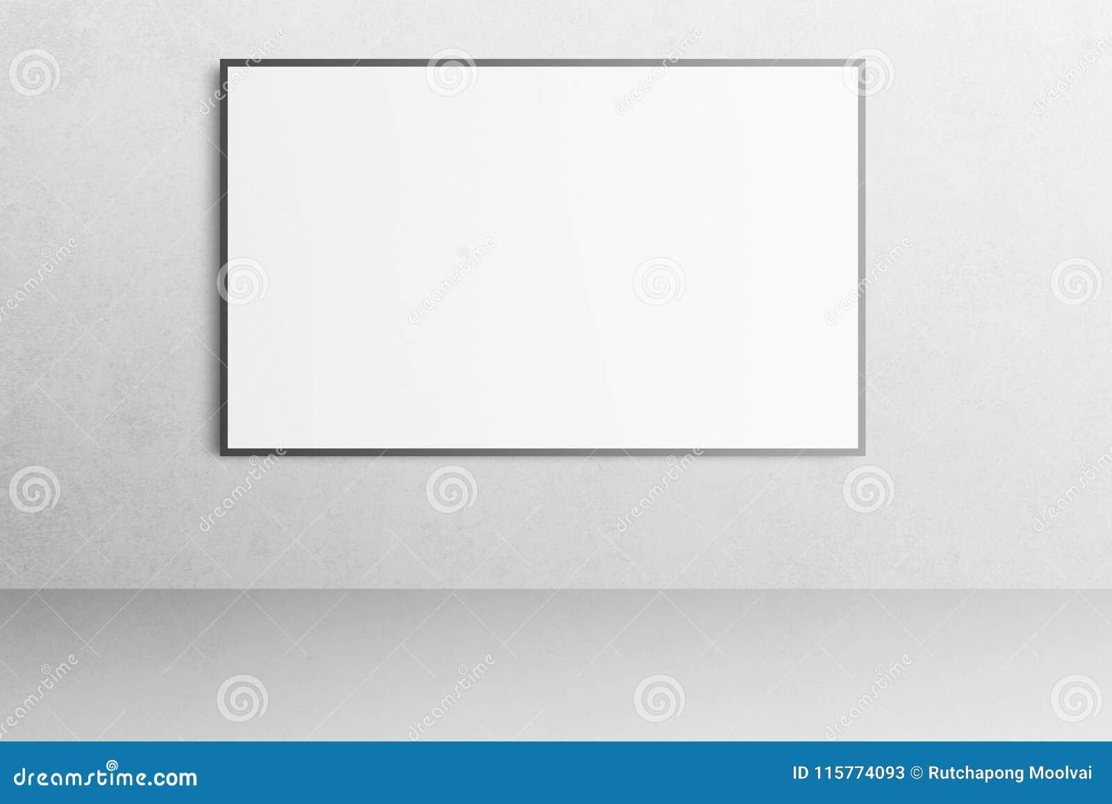Interior branco do escritório com o modelo vazio do cartaz na parede