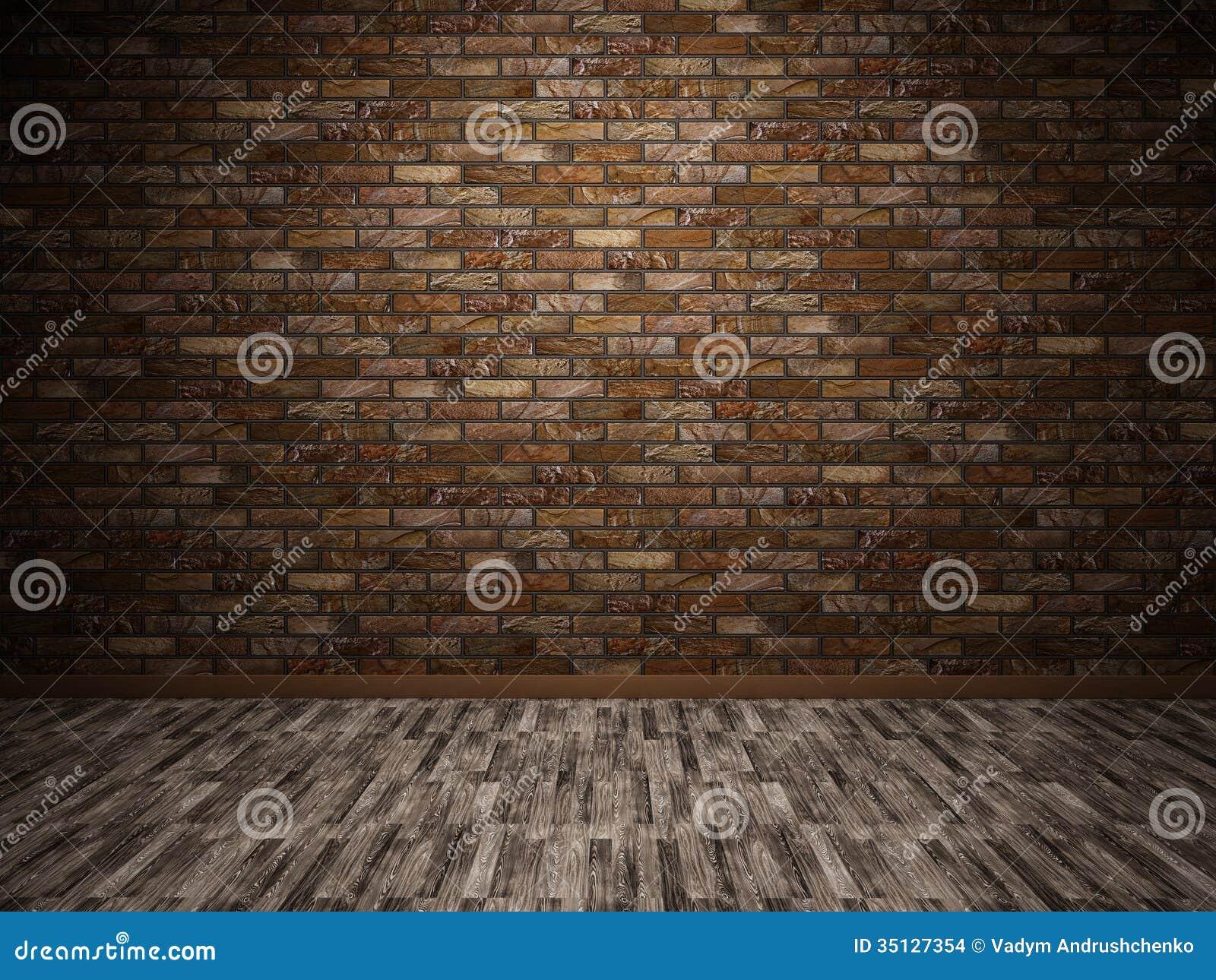 Interior Brick Flooring Pricing : Interior with brick wall stock illustration image of