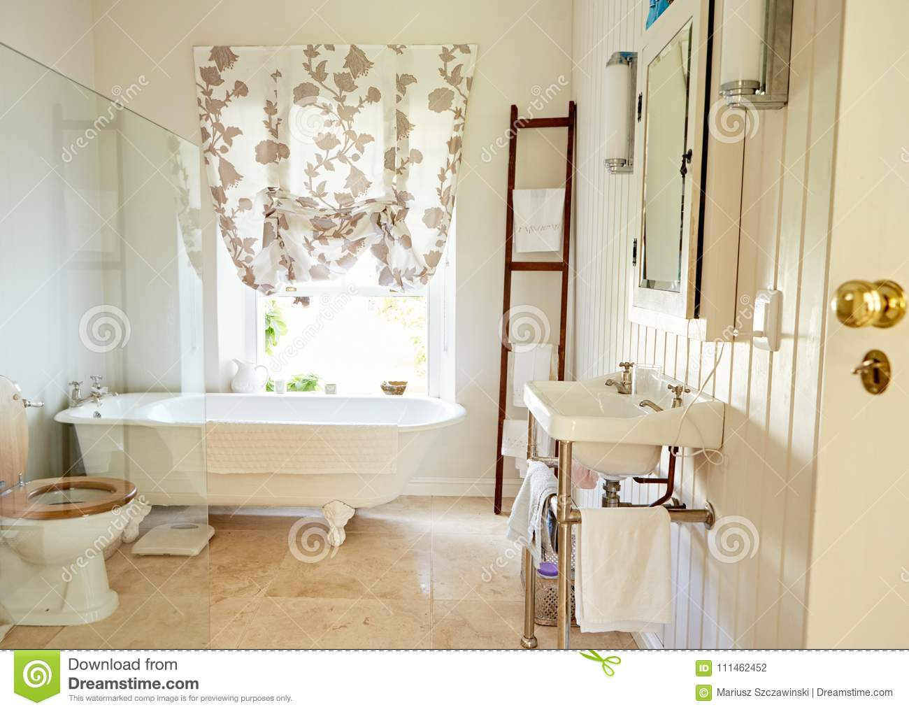 Interior Of A Spacious Country Style Bathroom Stock Photo - Image of ...