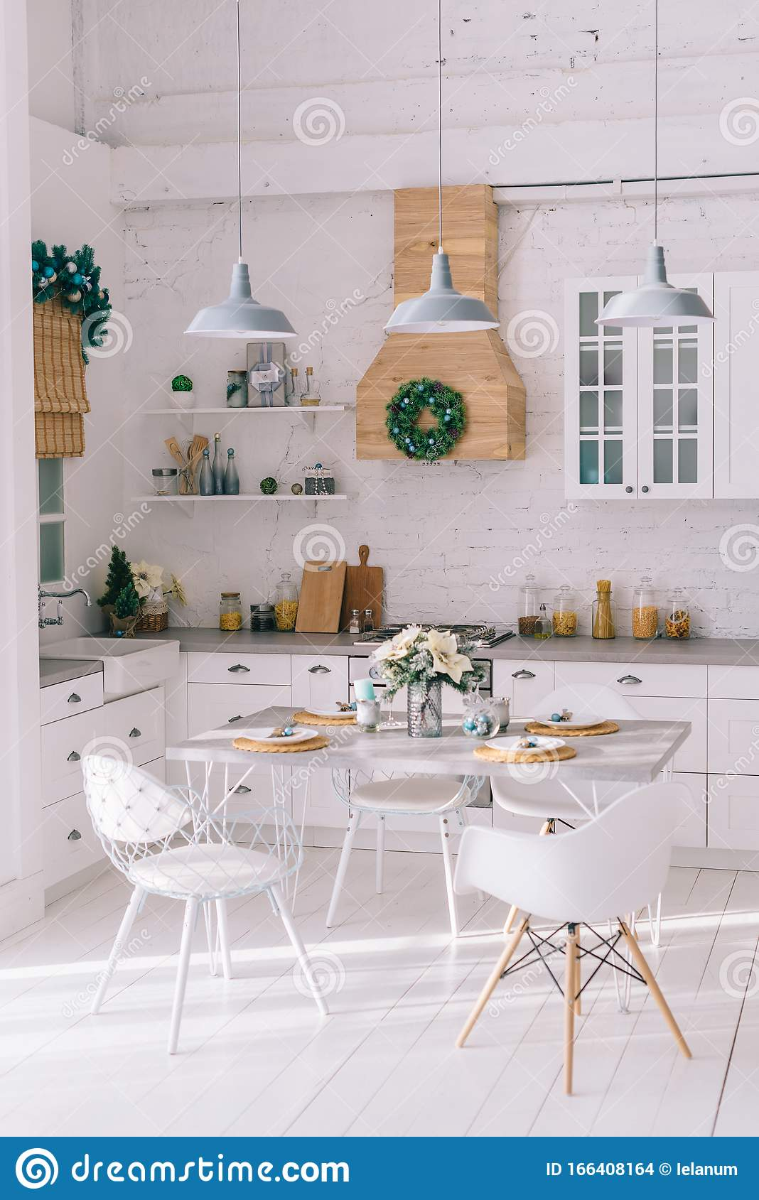 Interior Of A Bright Modern Kitchen In Vintage Style Decorated With Christmas Decor Stock Photo Image Of Luxury Domestic 166408164