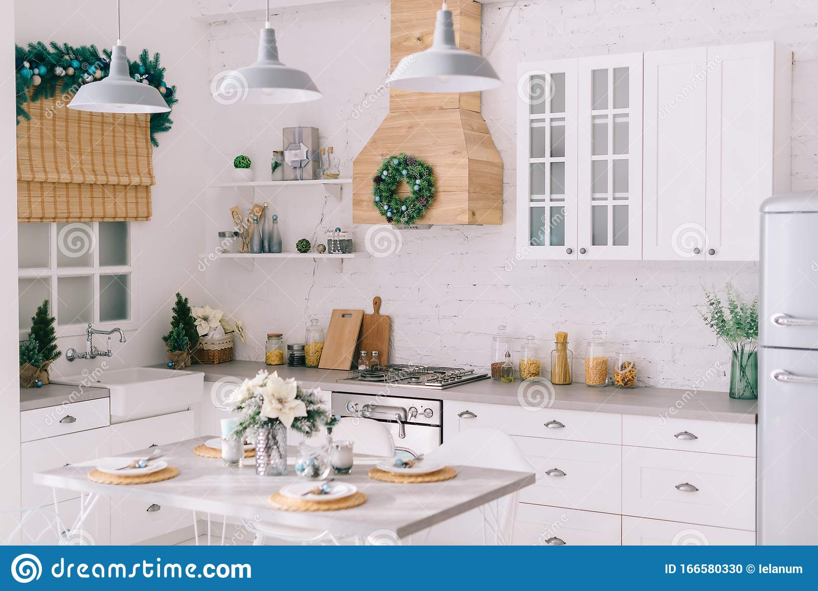 Interior Of A Bright Modern Kitchen In Vintage Style Decorated With Christmas Decor Stock Photo Image Of Cooking Furniture 166580330
