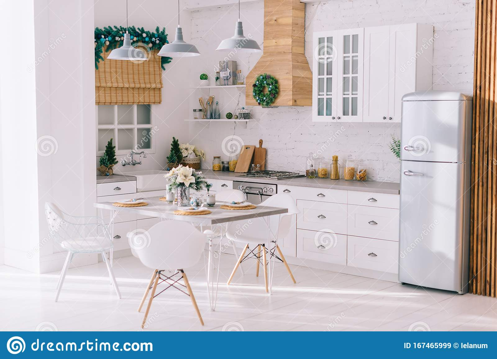 Interior Of A Bright Modern Kitchen In Vintage Style Decorated With Christmas Decor Stock Image Image Of Modern Design 167465999