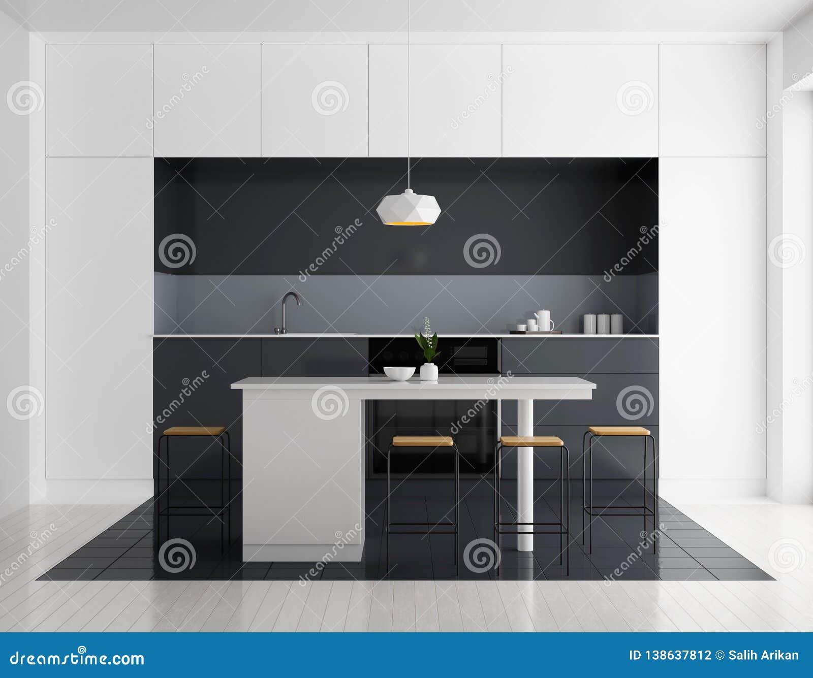 Interior Brillante Moderno De La Cocina Diseño De La Cocina De ...