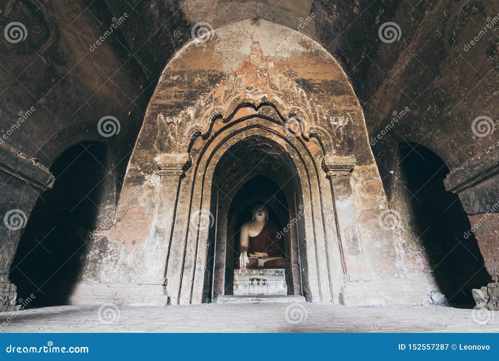 Interior of Burmese Buddhist temple in Bagan, Myanmar