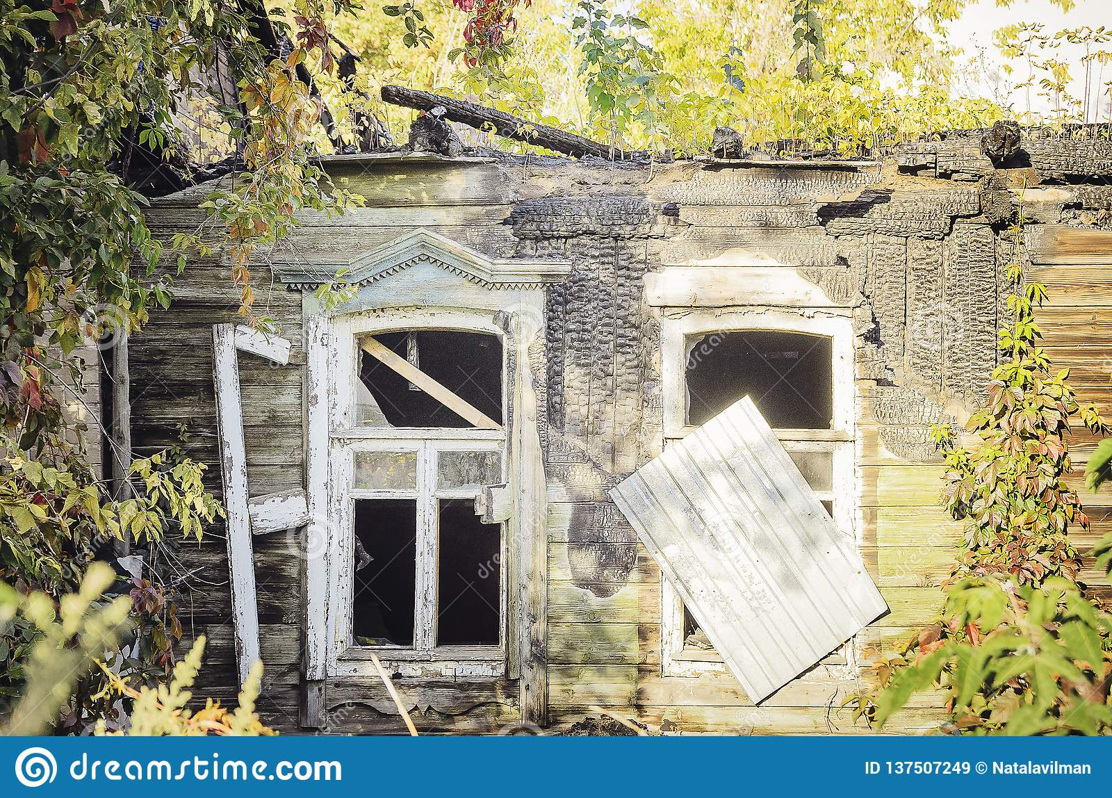 Interior Of Burned-down Wooden House Stock Image
