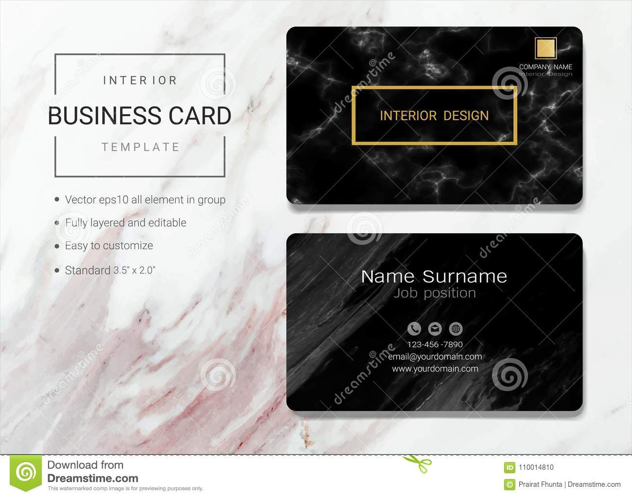 Interior Business Card Or Name Card Template Stock Vector Illustration Of Elegant Frame 110014810